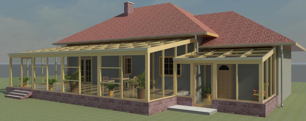 Projekt budowlany ogrodu zimowego przy budynku mieszkalnym, Witkowo